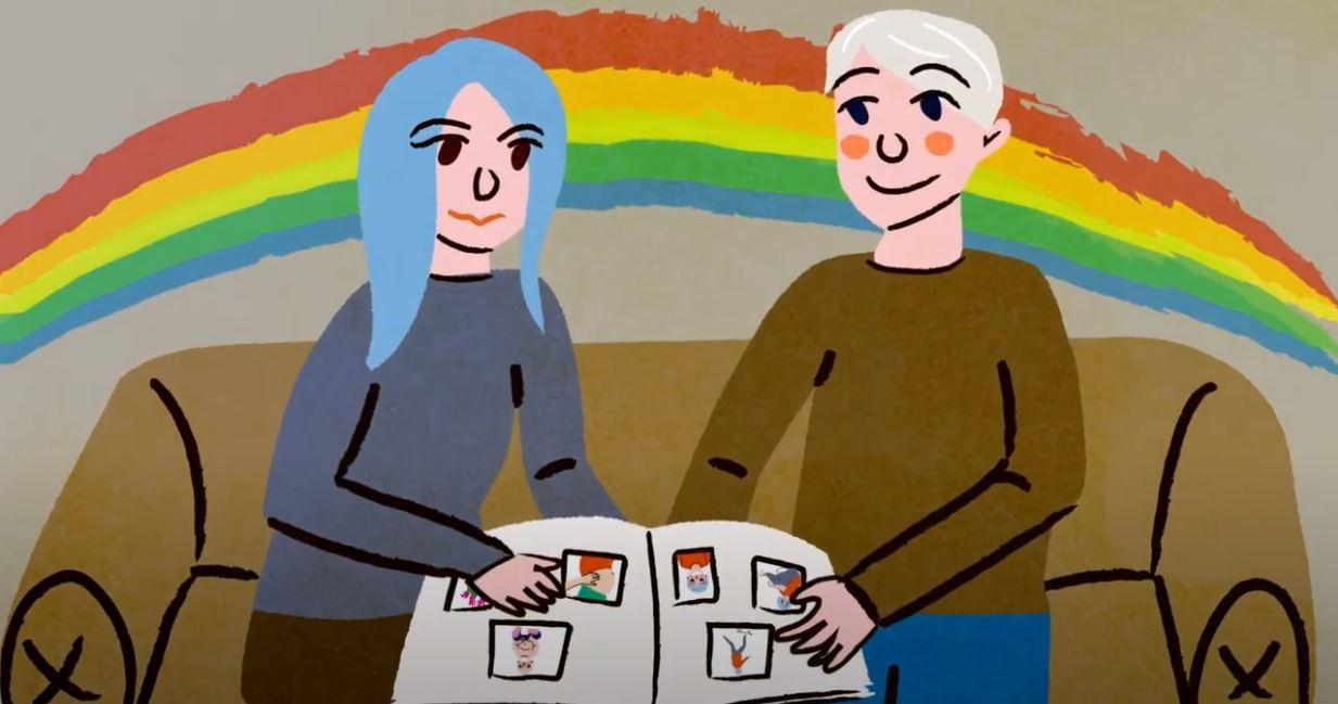 Animasjon, par sitter med fotoalbum, regnbuebakgrunn