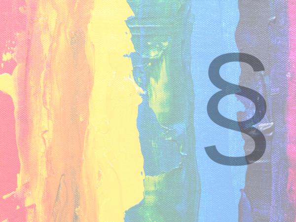 illustrasjon regnbue med paragraftegn