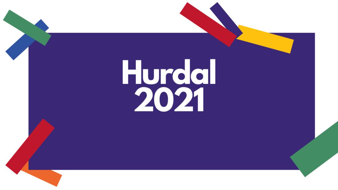 Header, hurdal 2021 på lilla bakgrunn